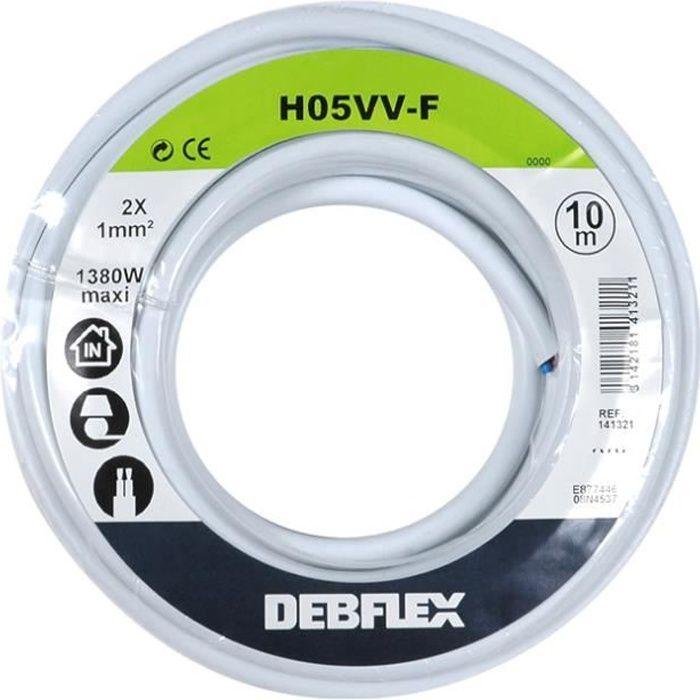 fil câble électrique gainé tissu OR double isolation 2 x 0,34 mm2 1,5 m