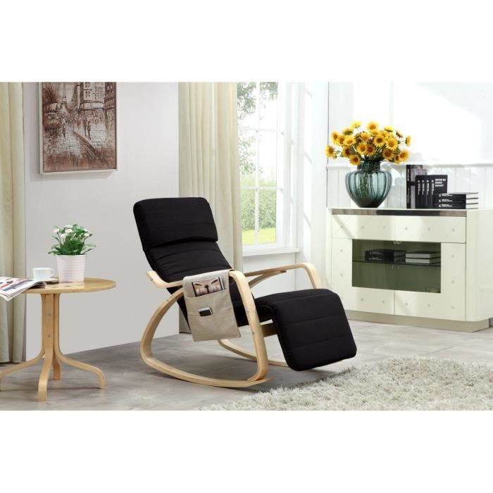 fauteuil bascule design noir avec pochette achat. Black Bedroom Furniture Sets. Home Design Ideas