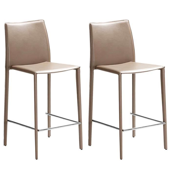 Tabouret de bar tempo taupe lot de 2 achat vente tabouret de bar marron - Tabouret de bar couleur ...