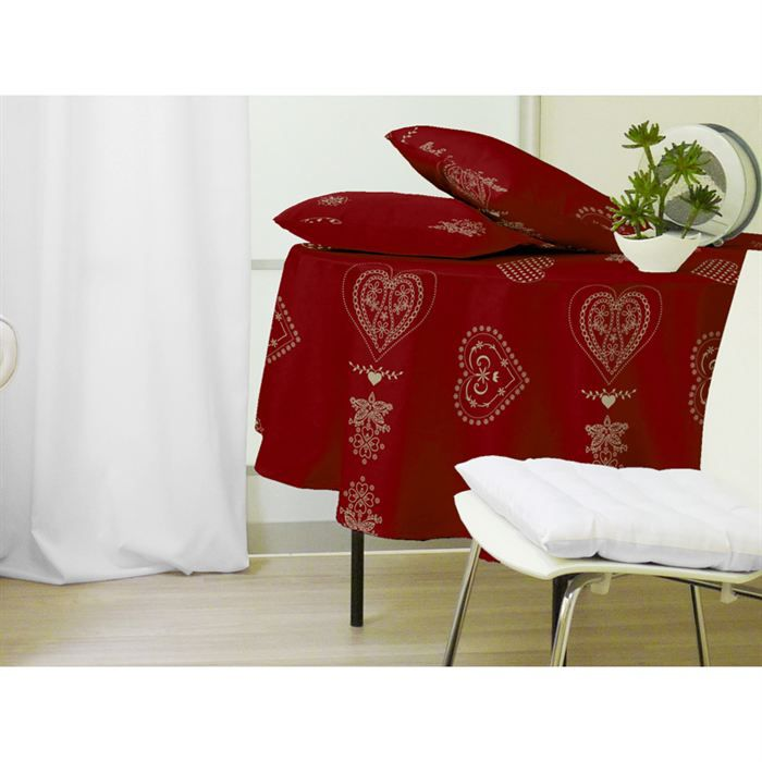 nappe ronde courchevel rouge achat vente nappe de table cdiscount. Black Bedroom Furniture Sets. Home Design Ideas