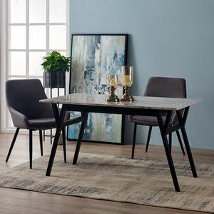 TABLE À MANGER SEULE Table à manger rectangulaire faux marbre blanc pie