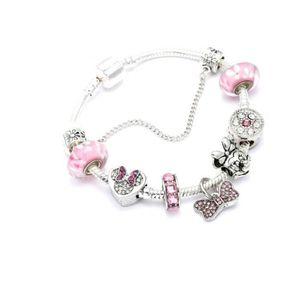 BRACELET - GOURMETTE Bracelet Charm Disney Minnie Style Pandora Rose Pl
