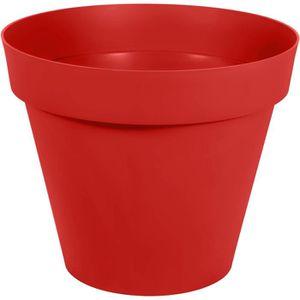 JARDINIÈRE - BAC A FLEUR Pot de fleur rond en polyéthylène TOSCANE-Rouge80