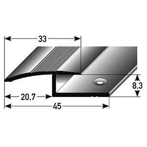 Aluminium anodis/é Profil/é de bordure // Seuil darr/êt pour le stratifi/é // parquet for/é 21 mm de large 2-pi/èces 3 x 1 m 3 m/ètres 7-15 mm de haut couleur: argent