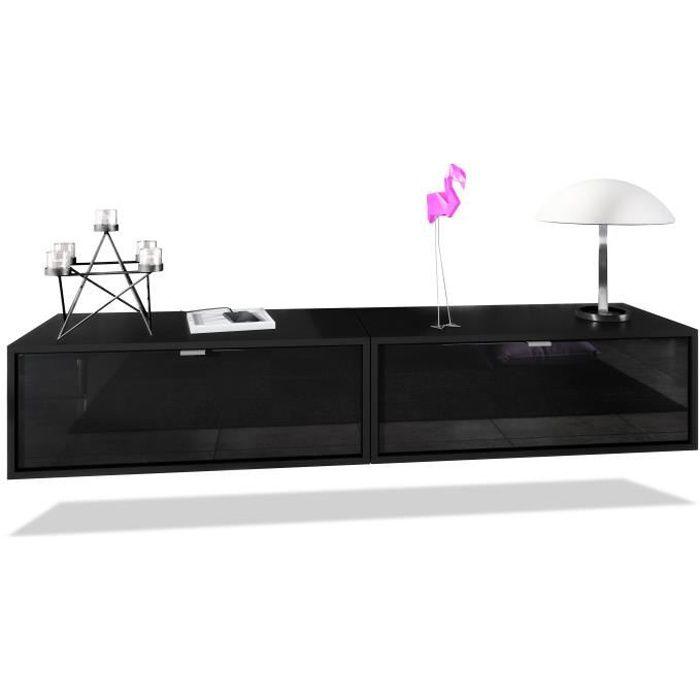 Ensemble de 2 set meuble TV Lana 80 armoire murale lowboard 80 x 29 x 37 cm, caisson en noir mat, façades en Noir haute brillance