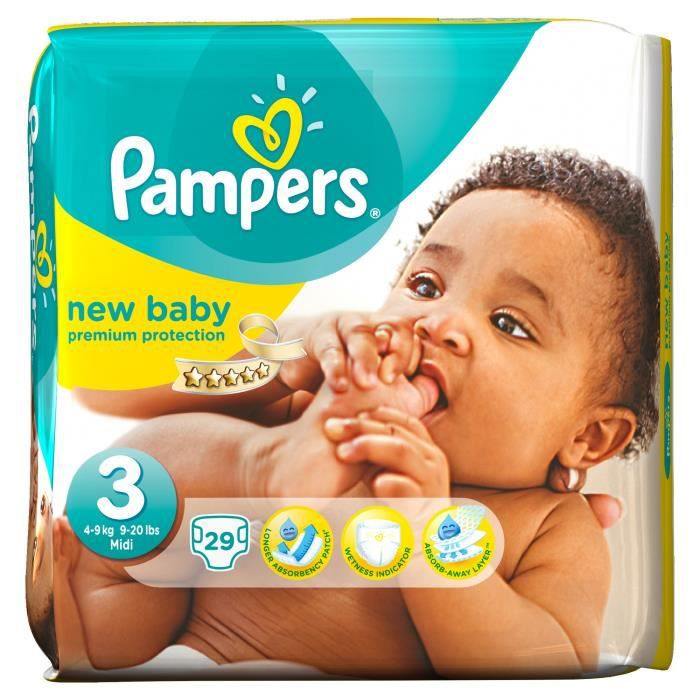PAMPERS Couches New Baby Taille 3 - De 4 à 9 kg - 29 couches