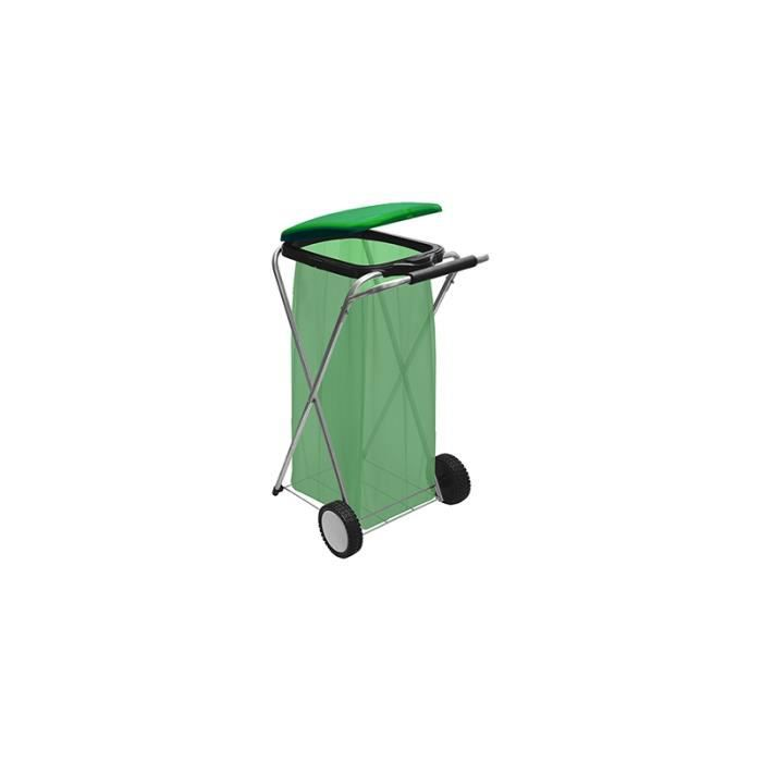 Arrosage et jardinage - Portant de sac poubelle à roulette - L 91 cm - Couleur aléatoire 38 cm