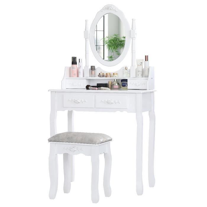 Coiffeuse avec Miroir Pivotant et 4 Tiroirs Table de Maquillage en Bois 1 Tabouret Design Moderne Meuble Blanc