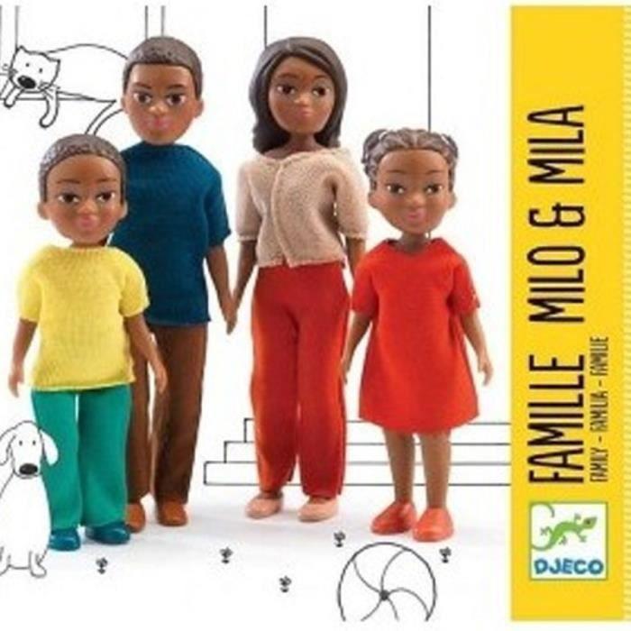 Famille noire maison de poupée Figurines articulées Djeco