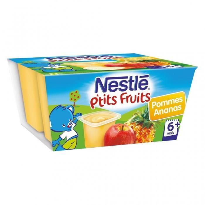Nestlé P'tit Fruits Pommes Ananas (+6 mois) par 4 pots de 100g (lot de 8 soit 32 pots)