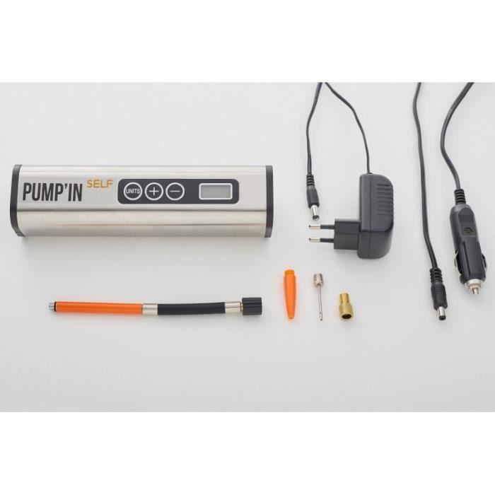 Pump'in SELF - Mini-compresseur autonome sans fil rechargeable 12V-220V avec lampe LED.