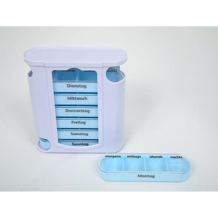 Pilulier Boîte à comprimés Deluxe pour 7 jours et 4 fois par jour, amovible