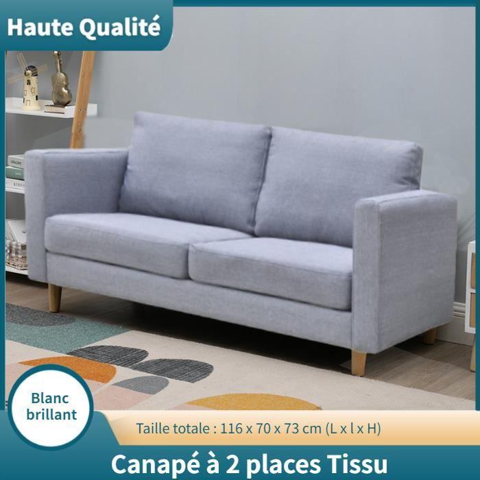 Canapé à 2 places Tissu Gris clair HB024