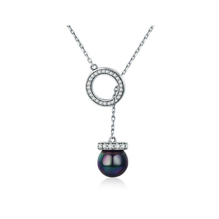 Collier Pendentif Femme Perle Noir en Cristal de Swarovski Elements et Argent 925 - - Blue Pearls 8321