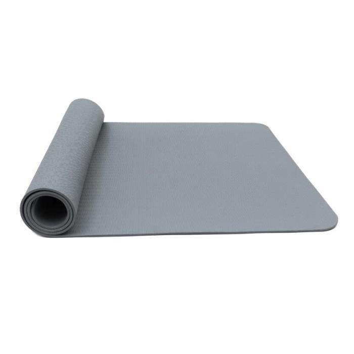 Tapis de Sol Pilates Antidérapant avec Sac Tapis et Sangle Transport Tapis de Fitness Gymnastique pour Yoga 183* 61* 0,6 cm - Gris