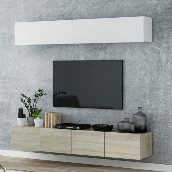 Ensemble Meuble TV Suspendu Mina 200 cm Couleur Bois et Blanc Style scandinave