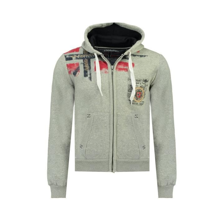 Sweat Homme Geographical Norway Fespote New Gris Clair