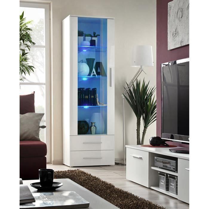 Vitrine NEO I design, façades blanches brillantes + LED. Meuble moderne et tendance pour votre salon. 40 Blanc