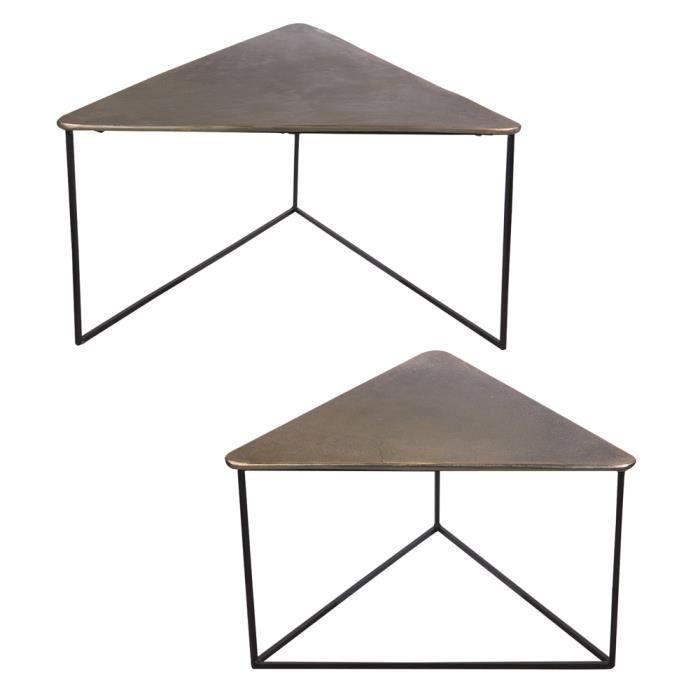 Set de 2 tables basses triangle en métal doré, longueurs des plateaux de et 6 - Table Passion 80 Or