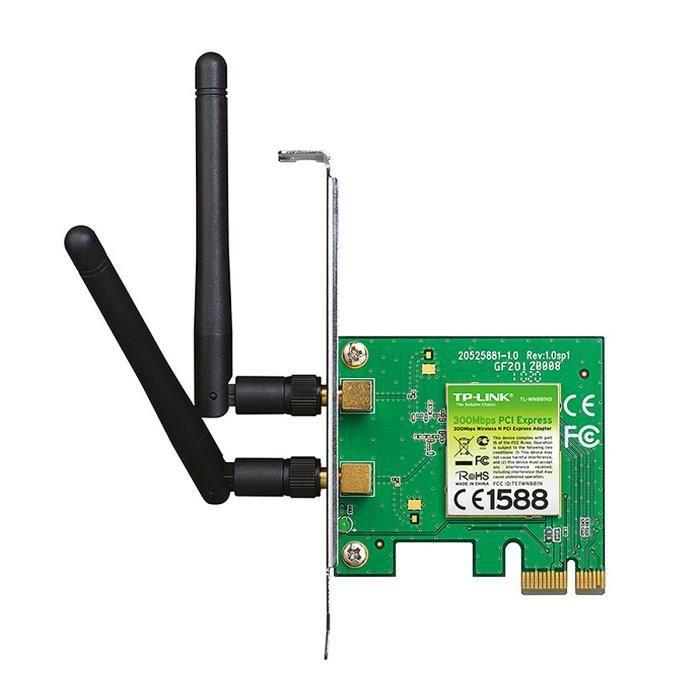 TP-LINK TL-WN881ND, Interne, Sans fil, PCI-E, WLAN, 300 Mbit-s, Vert