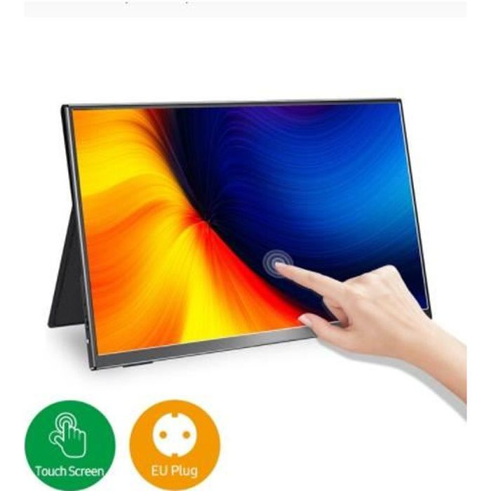 Moniteur Tactile Portable Ecran Tactile 15.6'' 1080P Deuxième Affichage 60HZ Externe 1.5lbs Léger Mince