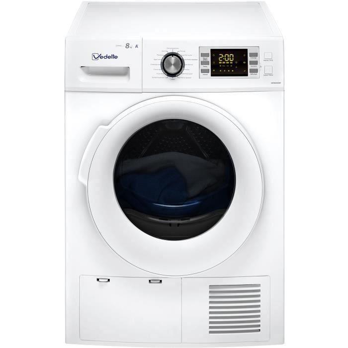 Sèche-linge pompe à chaleur VEDETTE VSF58H1DW - 8 kg - classe A+ - Blanc