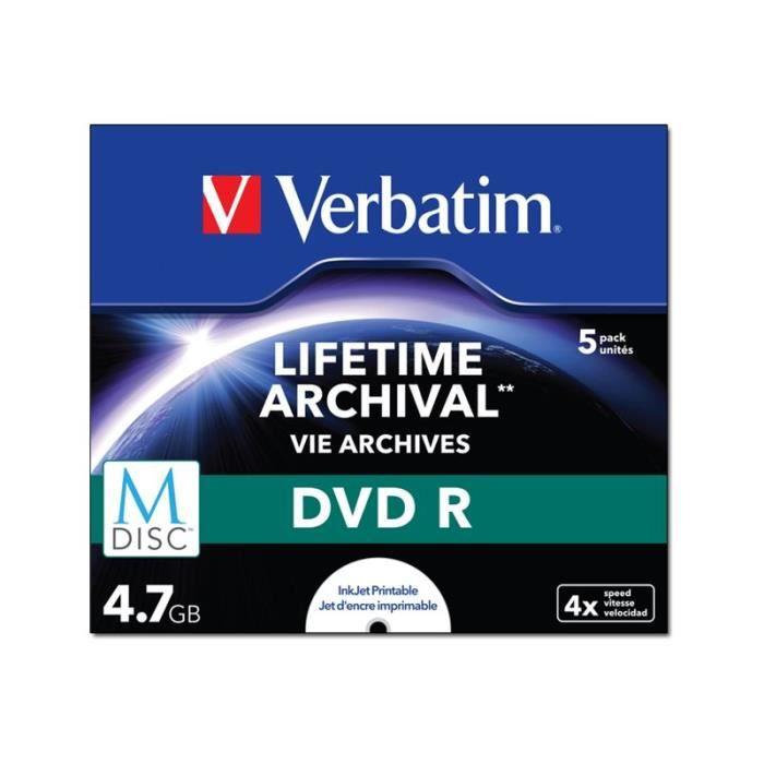 Verbatim M-Disc - 5 x DVD-R - 4.7 Go 4x - surface imprimable par jet d'encre - boîtier CD