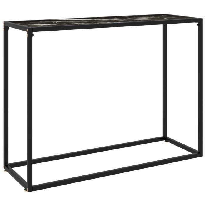 Zhihushop - Table console Noir 100x35x75 cm Verre trempé 760212