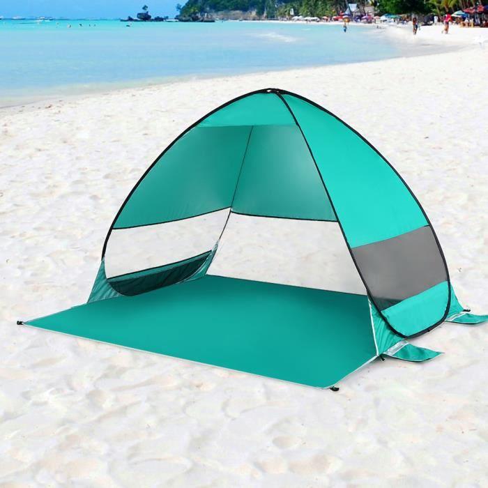 UPF 50 Plus Protection Contre Le Soleil 3 fen/êtres maill/ées TAGVO Abri de Soleil de Tente de Plage de Pop Up avec Porte Dentr/ée auvent instantan/é portatif de b/éb/é de Plage l/éger 4,7 Kilos