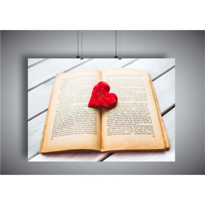 Poster Livre Book Cœur Romance Art Amour Passion A3 42x29