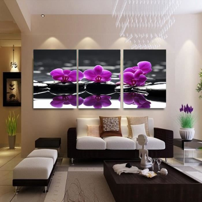 3 piece toile peinture violette fleurs salon d coratif tableau moderne peinture mur peinture art. Black Bedroom Furniture Sets. Home Design Ideas