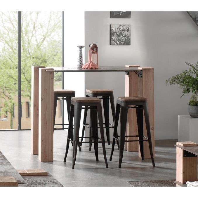 """Table Mange debout en Bois massif et métal vieilli industriel """"Acty"""" Meuble House Marron - Achat ..."""