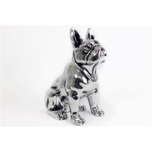deco statue de chien bouledogue fran ais argent en c ramique avec collier 17 cm achat. Black Bedroom Furniture Sets. Home Design Ideas