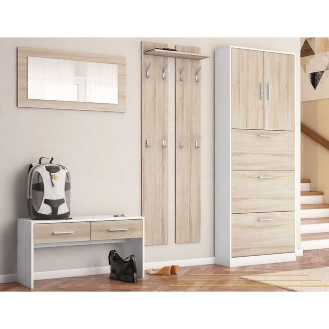 ensemble de meubles d entr e blanc bois brut achat vente meuble d 39 entr e ensemble de meubles. Black Bedroom Furniture Sets. Home Design Ideas