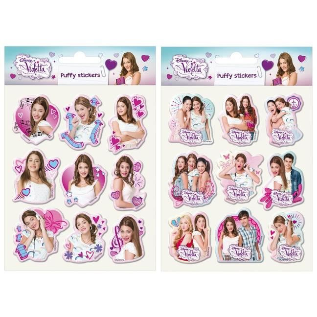 STICKER SCRAPBOOKING VIOLETTA 2 PLANCHES PUFFY STICKERS 18 AUTOCOLLANTS