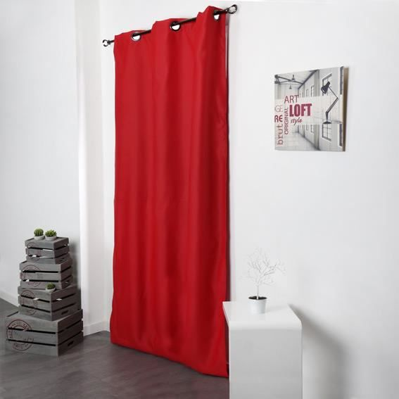 Rideau occultant 140 x h250 cm tenya rouge achat for Rideau semi occultant