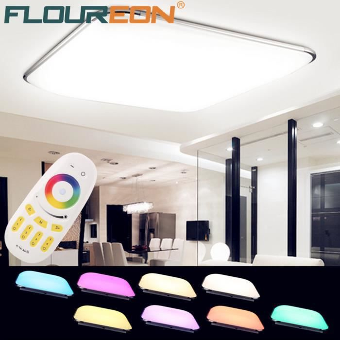 floureon 36w rgb led plafonnier eclairage intelligent t l commande couleur r glable pr salon. Black Bedroom Furniture Sets. Home Design Ideas