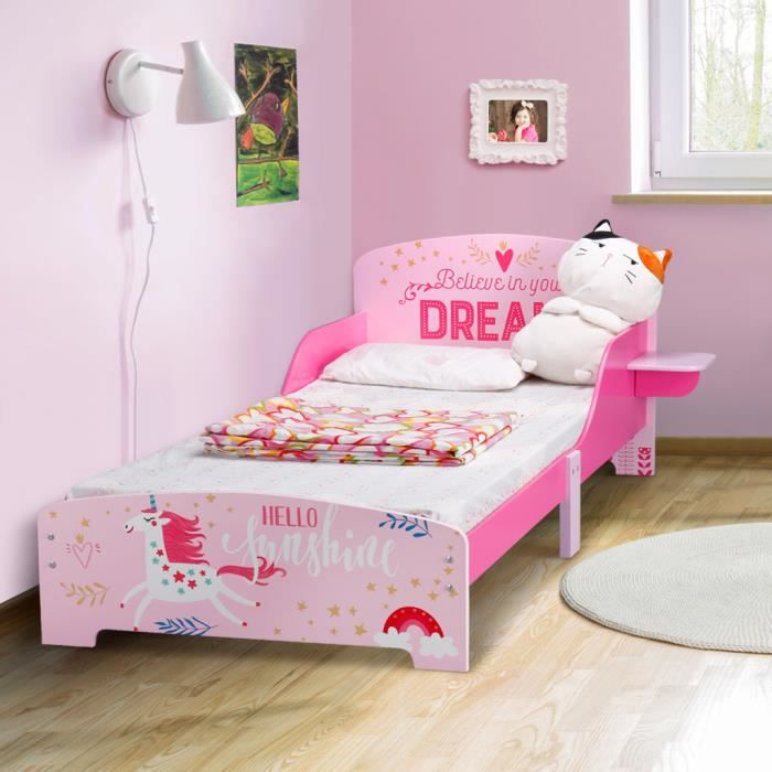 langria lit enfant en bois fille arc en ciel rose violet 70 140 cm avec barri re anti chutes. Black Bedroom Furniture Sets. Home Design Ideas