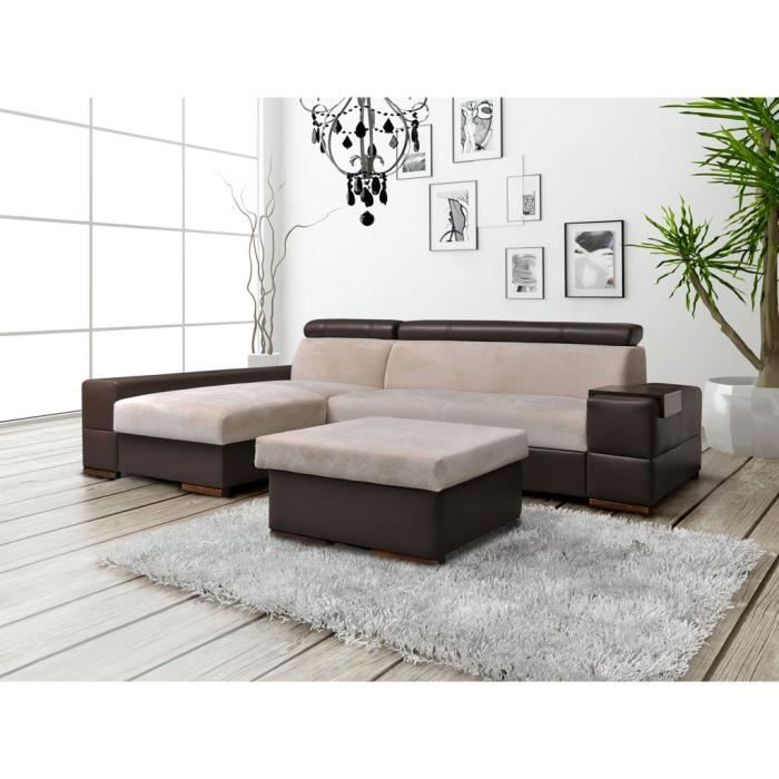 canap d 39 angle convertible capri pouf beige et marron achat vente canap sofa divan. Black Bedroom Furniture Sets. Home Design Ideas