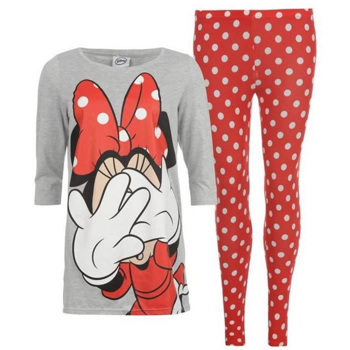 pyjama femme disney minnie gris rouge noir et achat vente chemise de nuit cdiscount. Black Bedroom Furniture Sets. Home Design Ideas