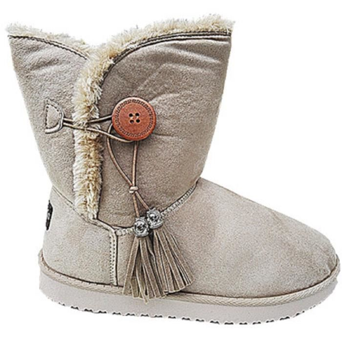 femme fille botte boots bottine chaussure fourr es fur fourrure plat talon 883 beige beige beige. Black Bedroom Furniture Sets. Home Design Ideas