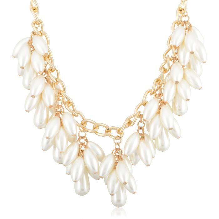 Womens Off-white Alloy Strand Necklace For (6) TI519