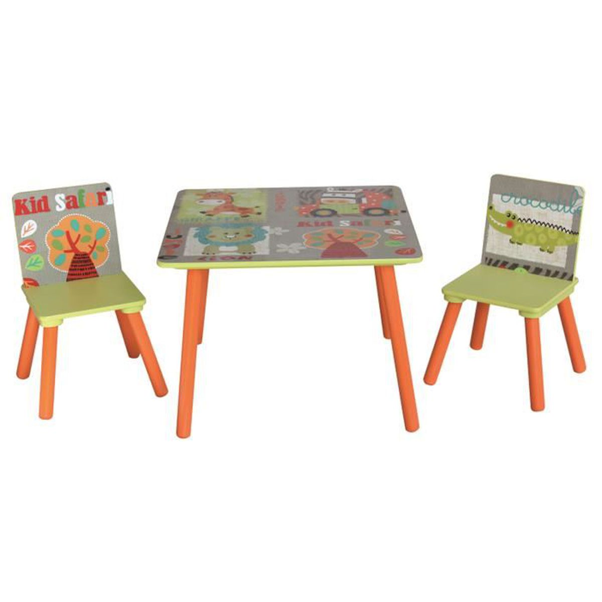 ensemble table et 2 chaises pour enfant en bois motif animaux safari achat vente table et. Black Bedroom Furniture Sets. Home Design Ideas