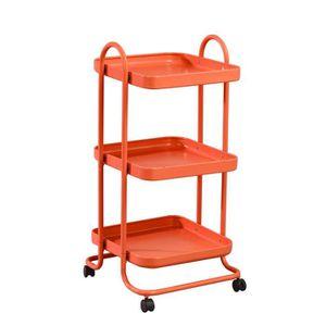 DESSERTE - BILLOT Chariot de Cuisine, orange, 3 Tablettes, Roulettes
