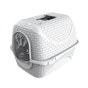 MAISON DE TOILETTE Maison de toilette pour chat aspect rotin - blanc