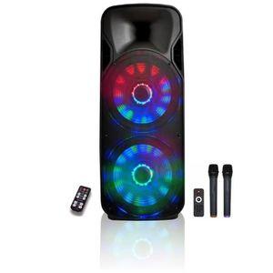 JEUX DE LUMIERE Enceinte Mobile Amplifiée 1000W + LEDs + 2 Micros