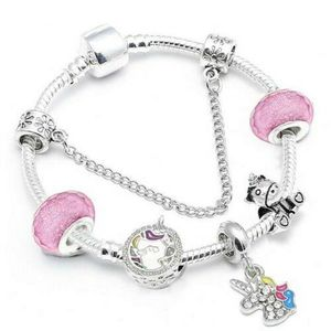 BRACELET - GOURMETTE Bracelet Charm Licorne Cristal Swarovski* Style Pa