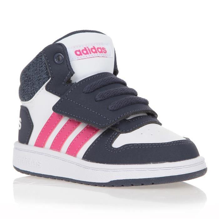 ADIDAS Baskets Hoops Mid 2.0 I - Bébé fille - Blanc et rose