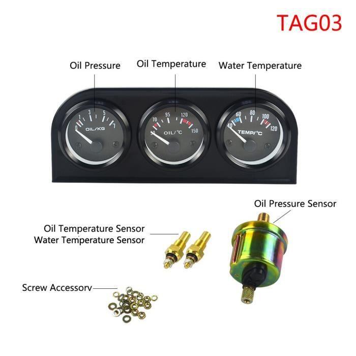Manomètre à huile Triple mm - kit de 52mm, jauge de température d'huile + jauge de pression d'huile avec capteur, [E540D56]