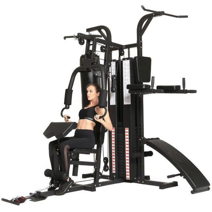 Dione HG5 – Station de fitness – Multi-Gym – Station de musculation avec sac de frappe – Poids de 65 kg – Extensible jusqu'à 100 kg